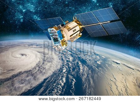 Space satellite monitoring from earth orbit weather from space, hurricane, Typhoon on planet earth. Elements of this image furnished by NASA.