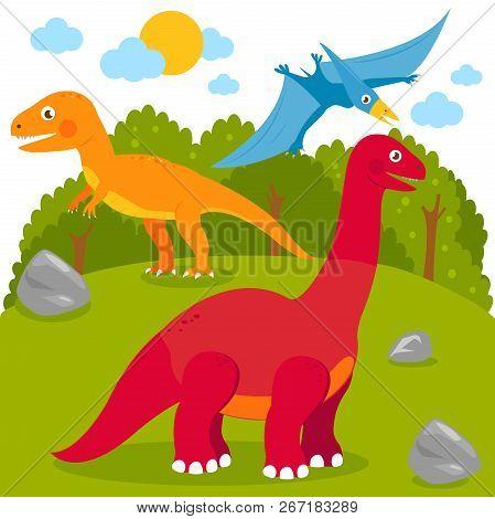 Prehistoric Landscape With Dinosaurs: Pterodactyl, Brontosaurus, Apatosaurus, Tyrannosaurus. Vector