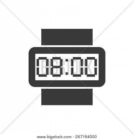 Digital Wristwatch Vector Icon On White Background. Digital Wristwatch Icon In Modern Design Style.