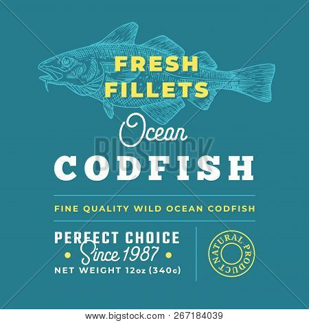 Fresh Fillets Premium Quality Label . Abstract Vector Fish Packaging Design Layout. Retro Typography