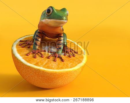 Realistic 3d Rendering Of A Green And Orange Colored Tigerleg Monkey Tree Frog, Phyllomedusa Tomopte