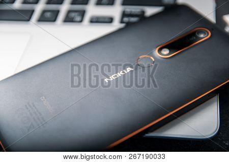 Wroclaw, Poland -  October 10th, 2018: Nokia 6.1 Smartphone Lies On Laptop. Nokia 6.1 Is A Nokia-bra