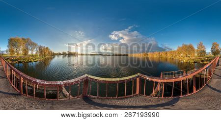 Full Seamless Spherical Panorama 360 Degrees Angle View Golden Autumn Near The Dam Of Wide Lake In S