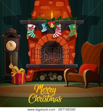 Christmas Fireplace In Room Interior With Xmas And New Year Winter Holidays Gifts, Santa Stockings A