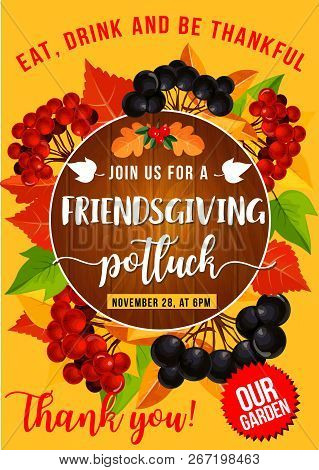 Friendsgiving Potluck Dinner, Thanksgiving Holiday Autumn Leaves And Fruits Frame. Vector Orange And