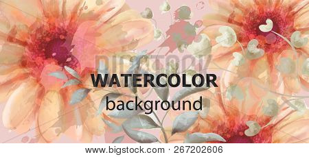Gerbera Floral Banner Watercolor Vector. Beautiful Vintage Fall Colors Floral Decors