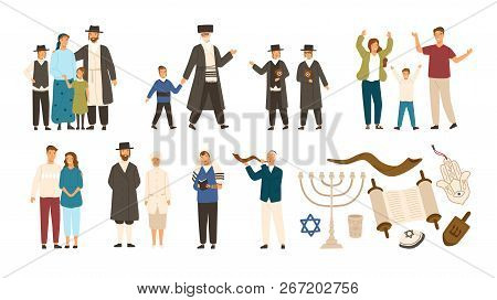 Collection Of Jews And Jewish Or Hebrew Symbols. Couple, Happy Family, Boys Reading Torah And Playin