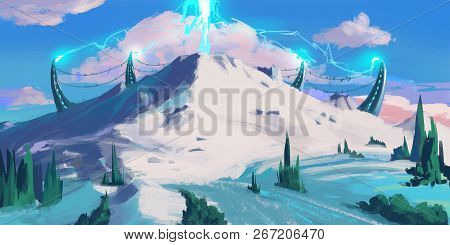 Snow Mountain. Sci Fi Topic. Spitpaint. Concept Art. Fast Drawings. Sketch Paint. Realistic Style. V