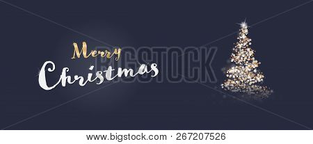 Christmas Time. Christmas Card With Tree In Festive Colors. Text : Merry Christmas.
