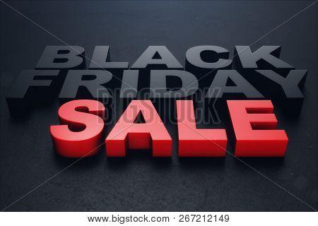 3d Illustration Black Friday, Sale Message For Shop. Business Shopping Store Banner For Black Friday