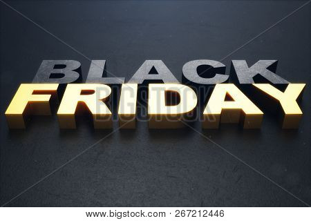 3d Illustration Black Friday, Sale Message For Shop. Business Shopping Store Banner For Black Friday