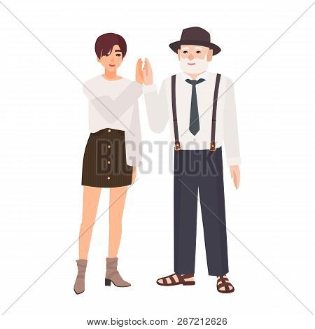 Joyful Granddad And Granddaughter Giving High Five. Smiling Old Man In Hat And Young Teenage Girl St