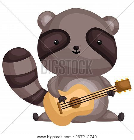 A Vector Of A Cute Raccoon Holding A Guitar