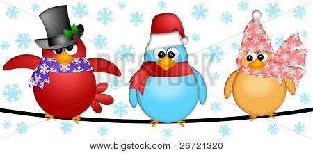 Three Christmas Birds on a Wire Cartoon Clipart Illustration Isolated on White Background with Snowflakes poster
