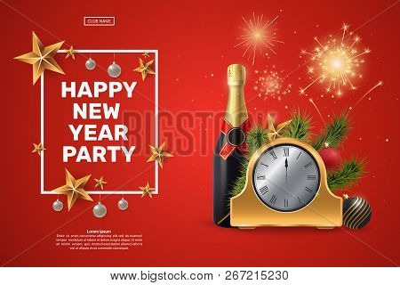 happy new year party invitation composition with a golden clock champagne bottle fir