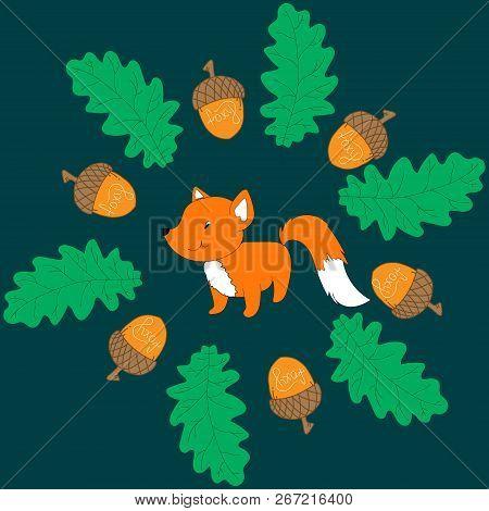 Fox In Leaves.little Fox In Wreanth Or  Leaves Frame. Cute Autumn  Card, Little Foxy