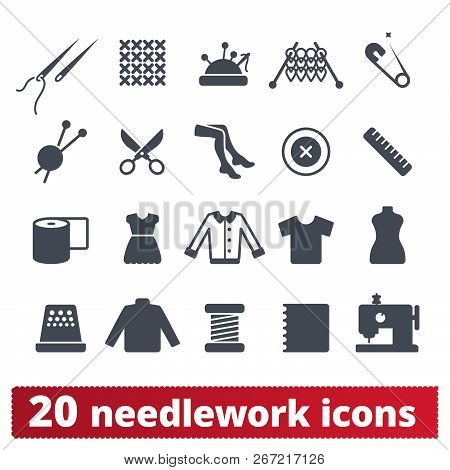 Needlework, Sewing And Knitting Icons. Vector Set Of Fashion, Haute Couture, Atelier And Handiwork E