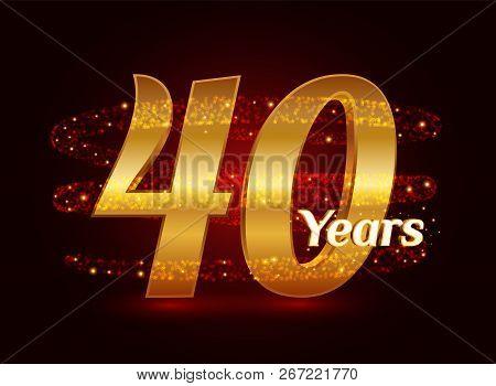 40 Years Golden Anniversary 3d Logo Celebration With Glittering Spiral Star Dust Trail Sparkling Par