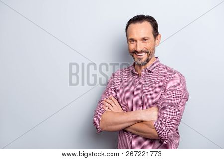 Photo Of Good-wearing Good-looking Man Stand Isolated On Light Gray Background With Copy Space For T