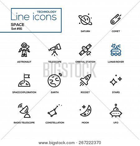 Space Concept - Line Design Style Icons Set
