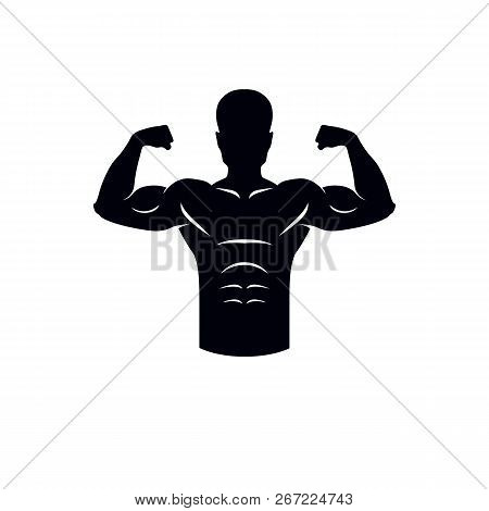 Logotype for heavyweight gym or fitness sport gymnasium, retro style vector emblem - bodybuilder silhouette. poster