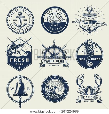 Vintage Monochrome Nautical Emblems With Anchor Seahorse Seashell Swordfish Ship Wheel Bell Sea Wave