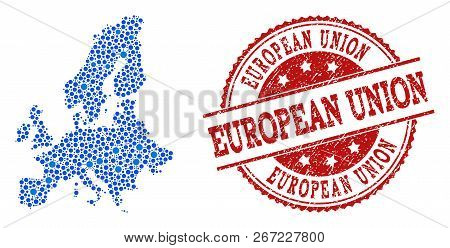 Compositions Of Blue Map Of Euro Union And Red Grunge Stamp Seal. Mosaic Map Of Euro Union Is Compos