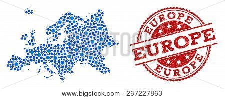 Compositions Of Blue Map Of Europe And Red Grunge Stamp Seal. Mosaic Map Of Europe Is Designed With