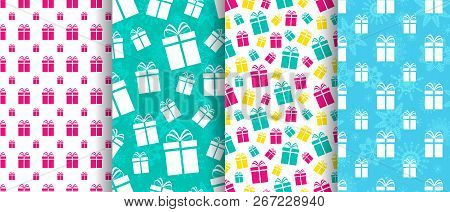 Gift Boxes Seamless Patterns Set. Winter Holidays Background. Vector Illustration. Present Flat Pres