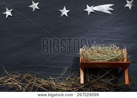 Manger And Star Of Bethlehem Abstracy Christmas Background Nativity Scene On Black Marble