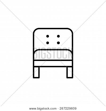 Black & White Vector Illustration Of Comfortable Leather Armchair. Line Icon Of Arm Chair Seat. Upho