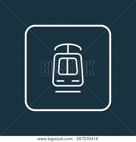 Tramway Icon Line Symbol. Premium Quality Isolated Streetcar Element In Trendy Style.