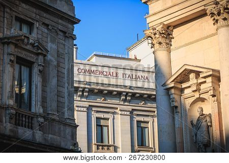 Detail Of The Facade Of The Italian Commercial Bank In Milan