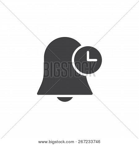 Bell And Clock Vector Icon. Filled Flat Sign For Mobile Concept And Web Design. Time Notification Si
