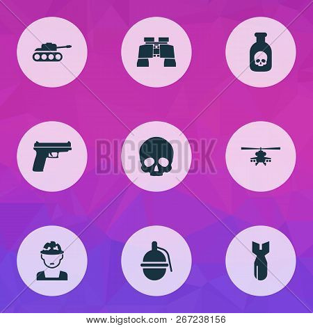Combat Icons Set With Gun, Grenade, Tank And Other Panzer Elements. Isolated Vector Illustration Com