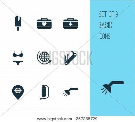 Tourism Icons Set With Suitcase Female, Flight, Swimsuit And Other Bathroom Elements. Isolated Vecto