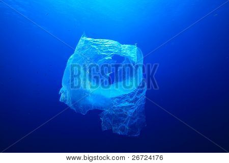 Pollution problem - plastic bag in the ocean poster