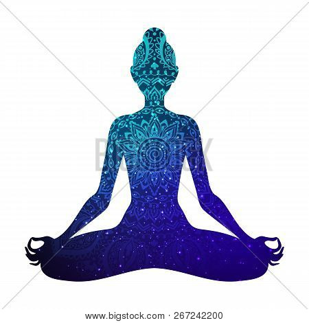 Meditating Woman In Lotus Pose. Yoga Illustration. Shiny Mandala And Stars Background.