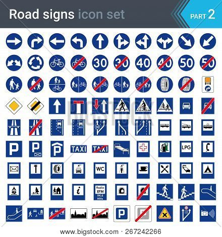 Road Signs Isolated On White Background. Mandatory And Information Signs. High Quality Traffic Road