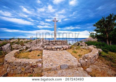 Island Of Krk Cross By The Sea In Stara Baska Village, Northern Adriatic Region Of Croatia