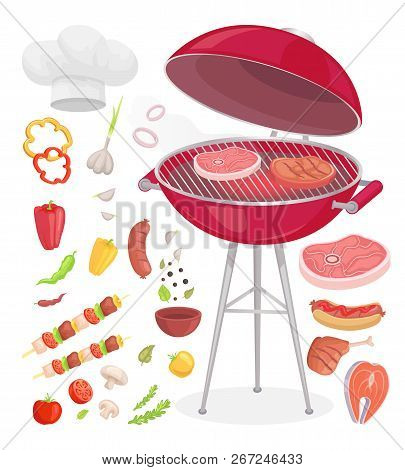 Beefsteak Grilling Meat Isolated Icons Vector Set. Grille Grid With Beef And Pork Roasted Chicken Wi