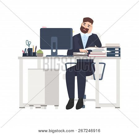 Male Professional Worker Or Clerk Sitting At Desk Completely Covered With Documents. Tired Or Exhaus