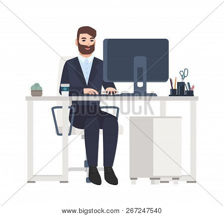 Cheerful Male Office Worker Or Clerk Sitting At Desk And Working On Computer. Smiling Manager At Its