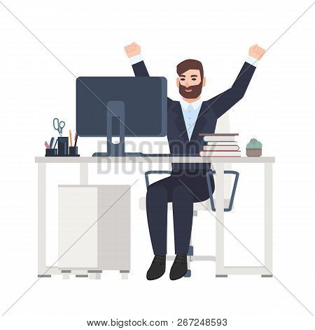 Male office worker or clerk sitting at desk and rejoicing. Happy joyful manager celebrating success at workplace isolated on white background. Colorful vector illustration in flat cartoon style. poster