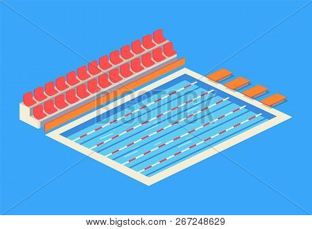 Empty Indoor Swimming Pool Isolated Vector Icon. Separated Tracks For Sportsmen, Starting Blocks For