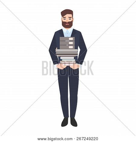 Sad Male Office Worker Or Clerk Carrying Stack Of Paper Documents. Tired Unhappy Manager Overloaded