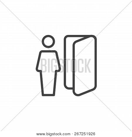 Logout User Outline Icon. Linear Style Sign For Mobile Concept And Web Design. Member Exit Simple Li