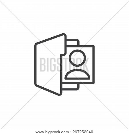 User Folder Outline Icon. Linear Style Sign For Mobile Concept And Web Design. Profile Folder Simple