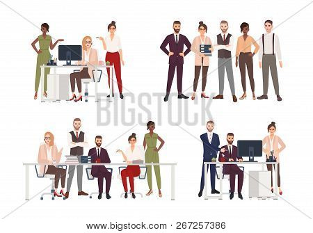 Collection Of Scenes With Group Of Office Workers Or People Working On Computer, Having Business Mee