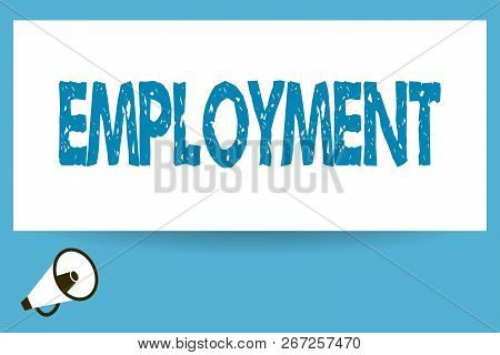 Word Writing Text Employment. Business Concept For State Of Having Paid Work Occupation Utilization